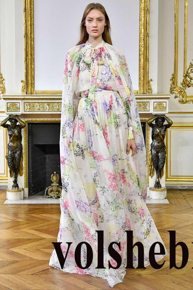 Платье в пол с пышной юбкой с цветочками