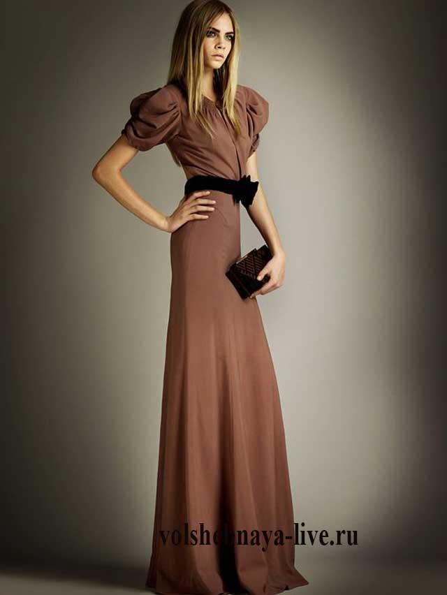 коричневое платье в пол