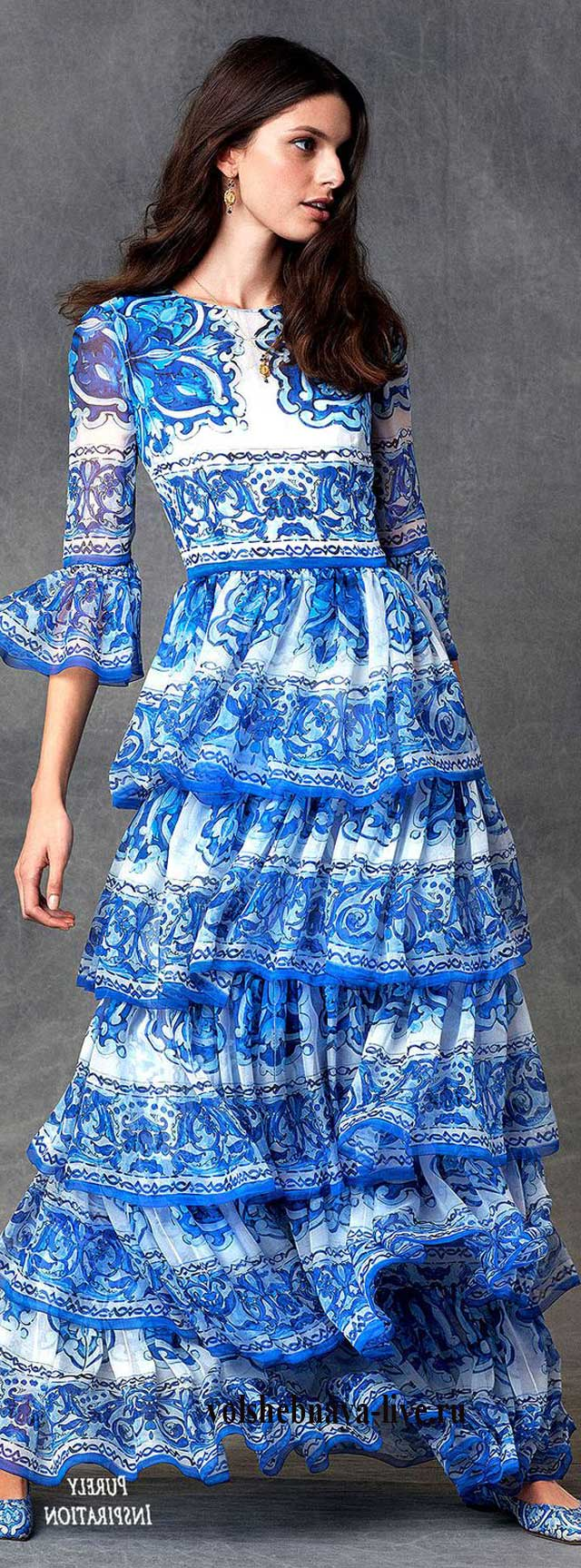 Макси платье с принтом под гжель