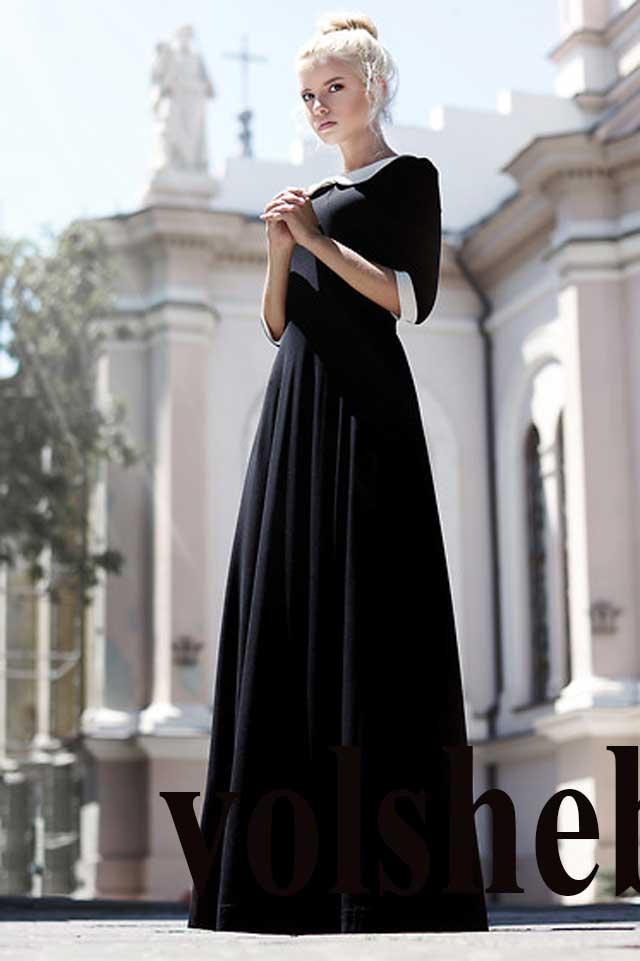 Черное платье в пол с белым воротником