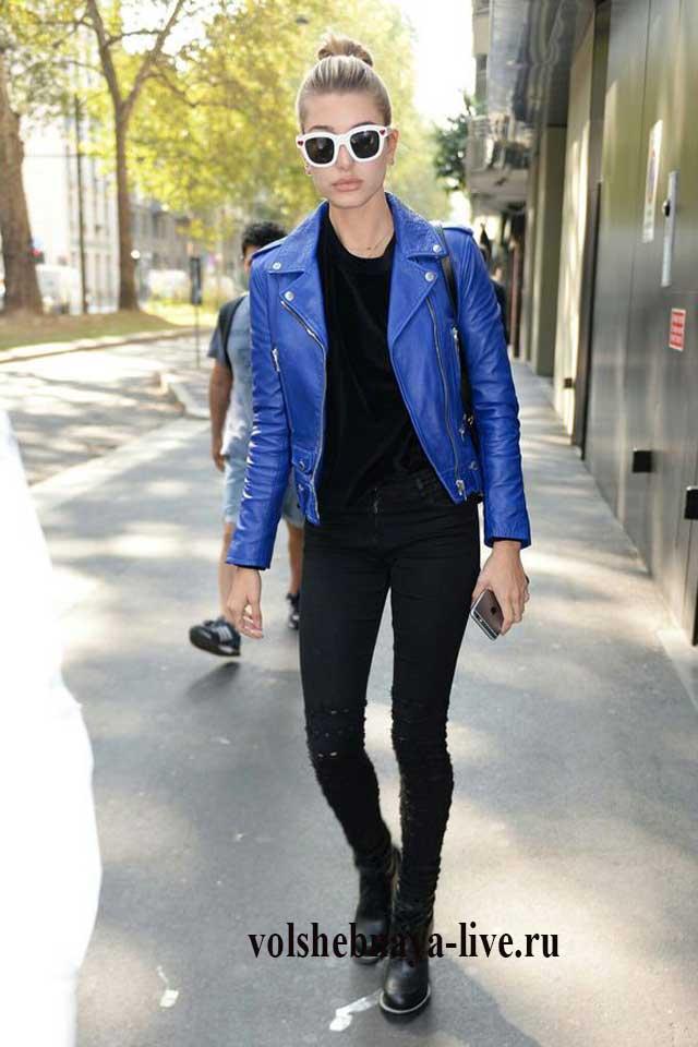 Косуха синяя под черную. водолазку и джинсы