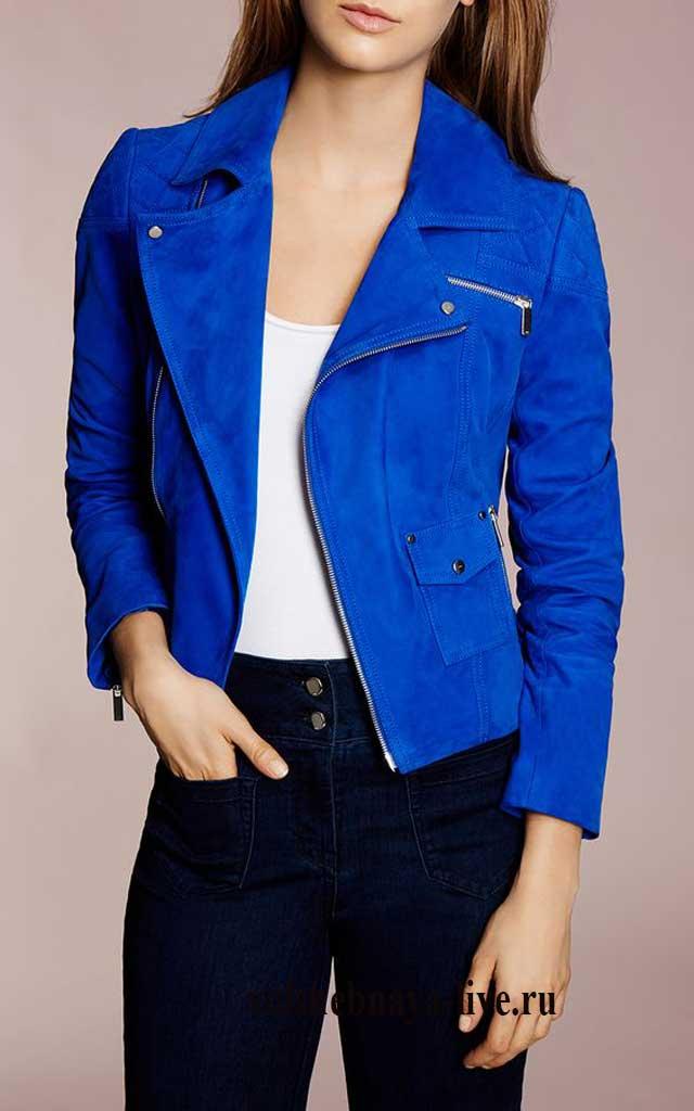 Замшевая синяя курточка косуха