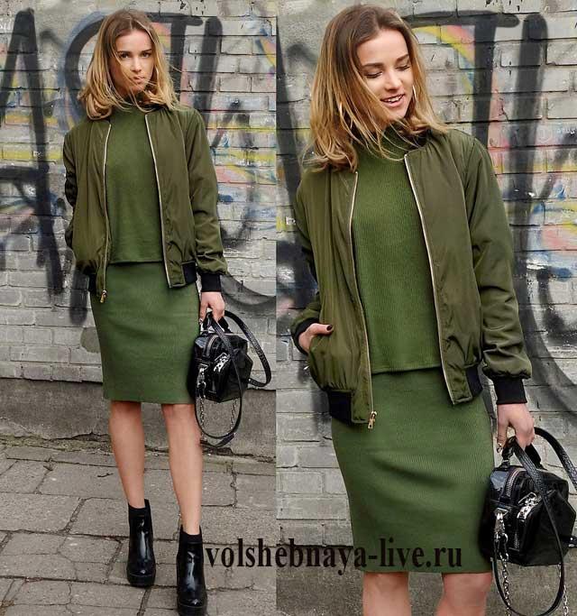 b3683125fbd Как носят юбку цвета хаки модные блогеры
