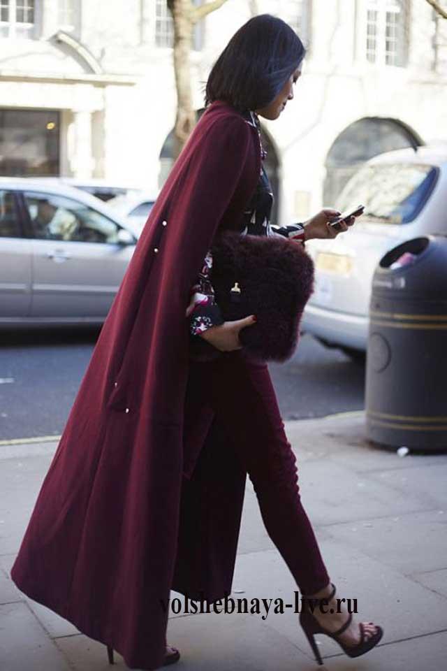 Бордовые пальто с чем носить