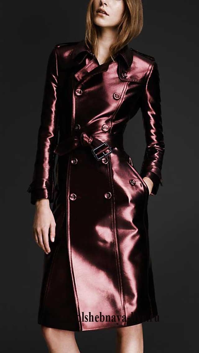 С чем носить кожаное бордовое пальто
