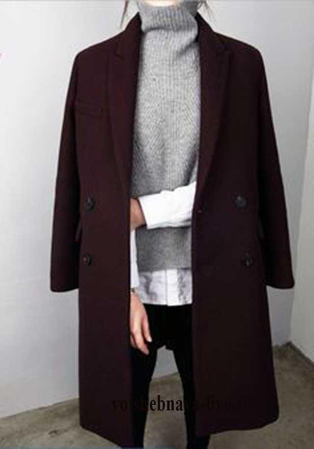 Серый свите под строгое пальто бургунди