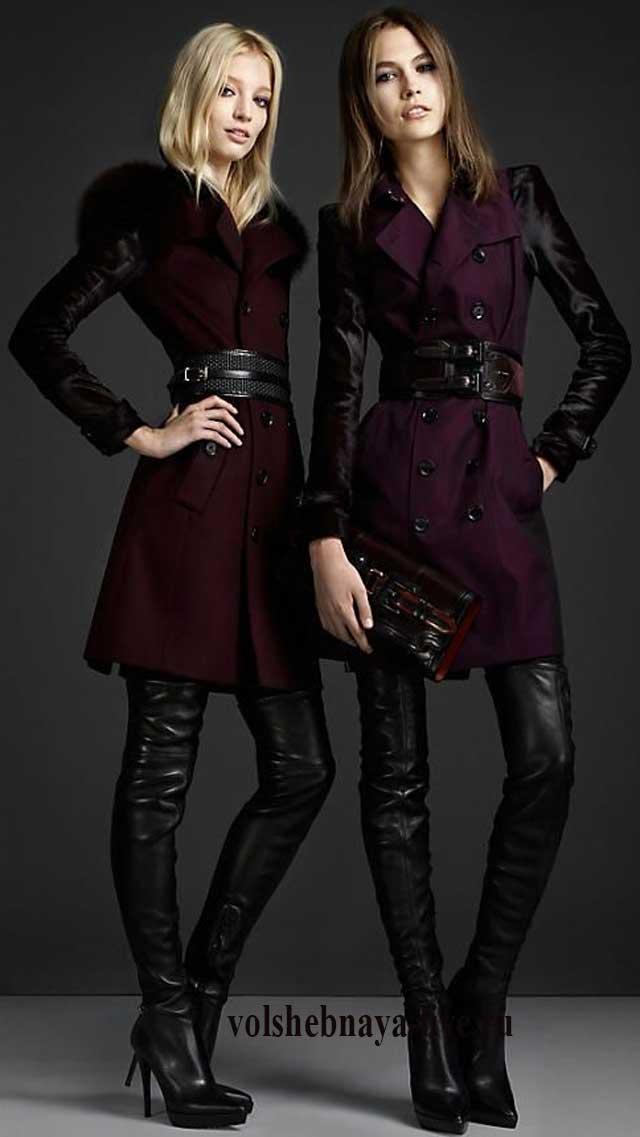 Бордовое пальто с рукавами из кожи