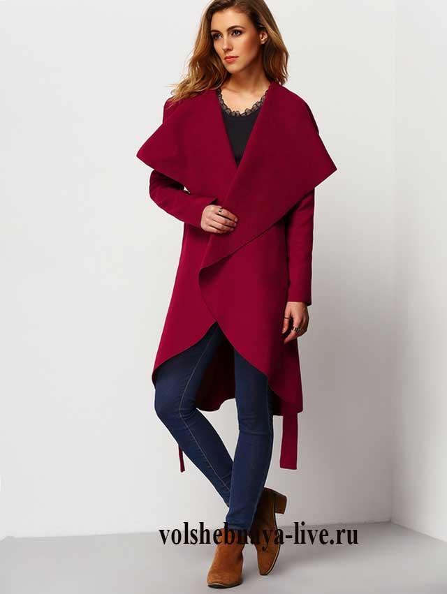 Пальто кардиган цвета бордо