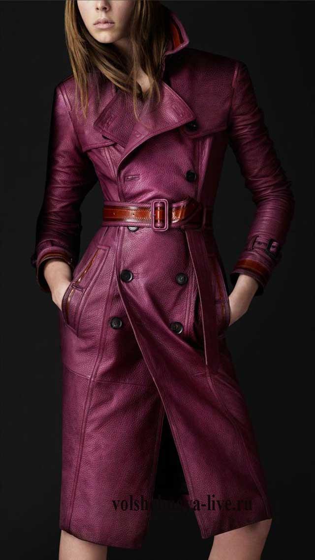 Кожаное пальто приталеное бордового цвета