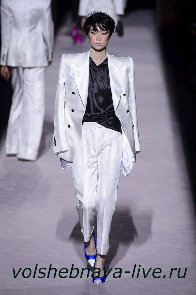 Tom Ford 2018 двубортный женский пиджак белого цвета