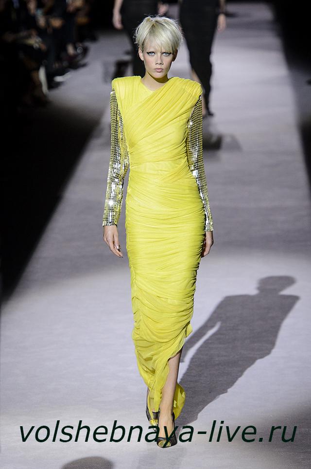 Tom Ford 2018 Желтое платье в пол