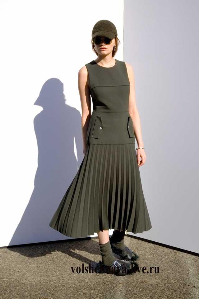 Пышная юбка защитного цвета