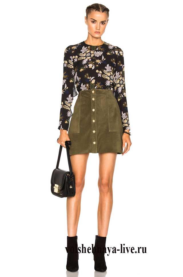 Короткая юбка цвета хаки с пуговицами