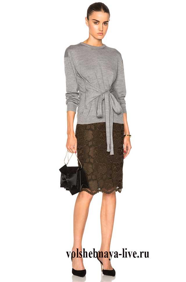 Кружевная юбка карандаш цвета хаки