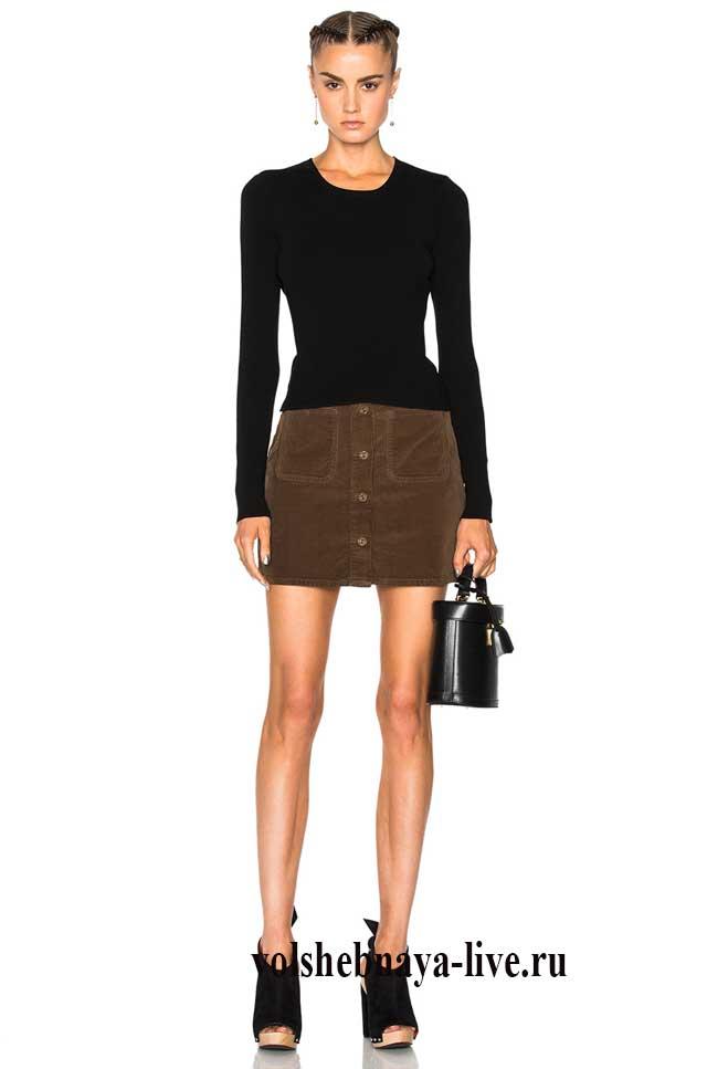 Мини юбка цвета хаки из джинсовой ткани