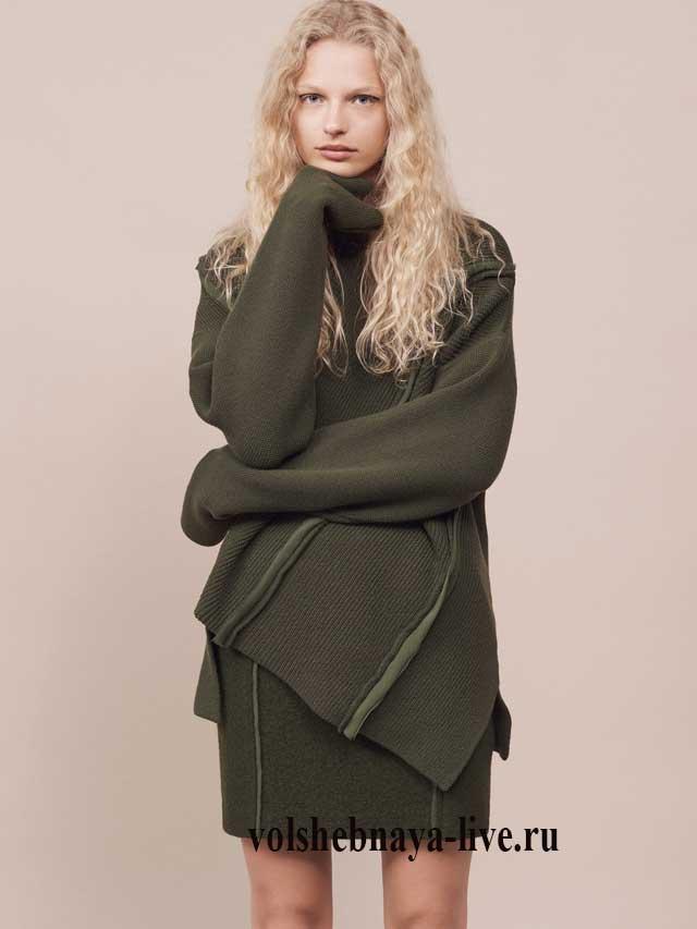 мини юбка цвета хаки со свитером асимметрия