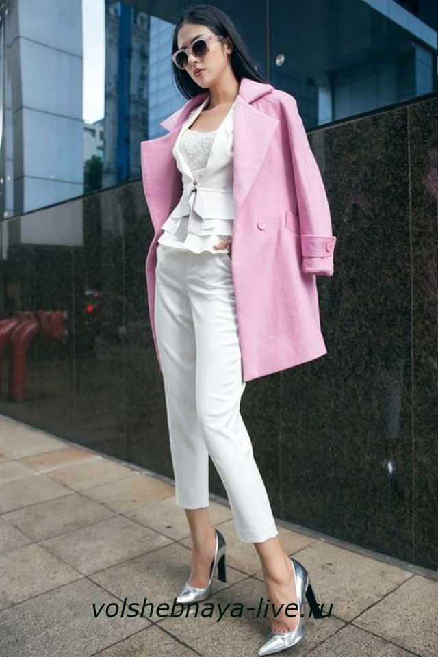 Пальто оттенка розовая лаванда