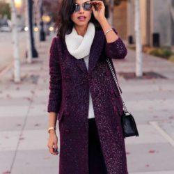 Образ с боровым двубортным пальто