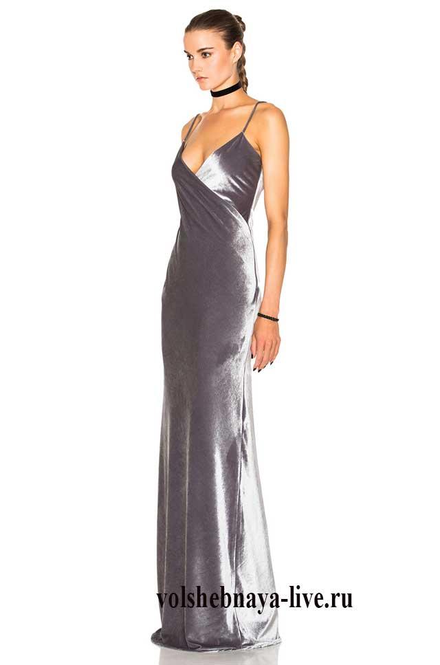 Бархатное длинное платье комбинация