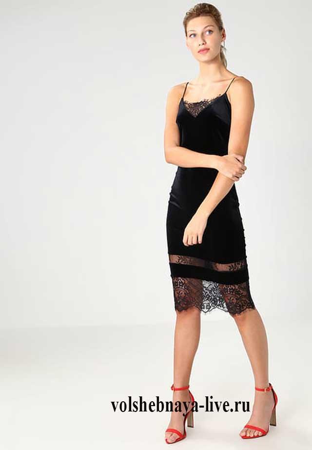 Бархатное платье комбинация с кружевной отделкой подола