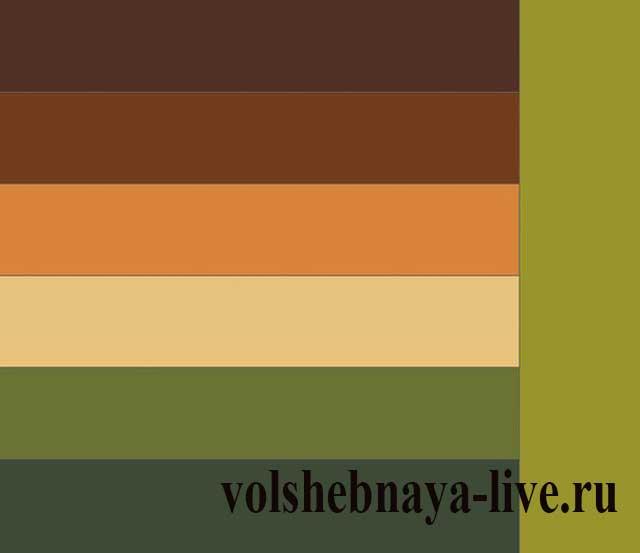 Сочетание коричневого и зеленого цветов с горчичным