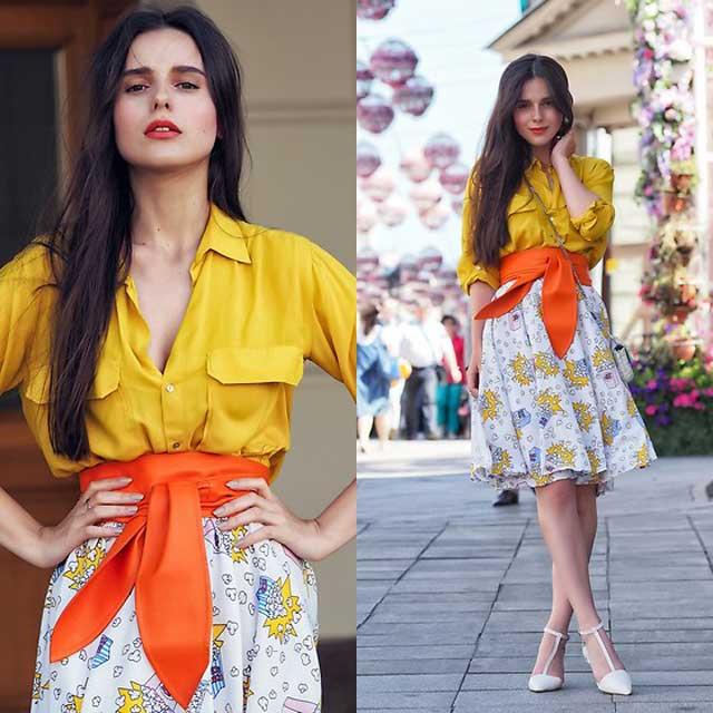 Блуза горчичная с юбкой в цветочек