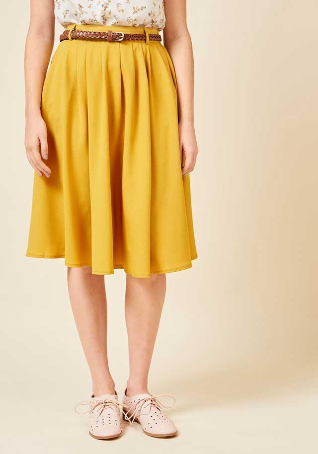 Горчичная юбка миди