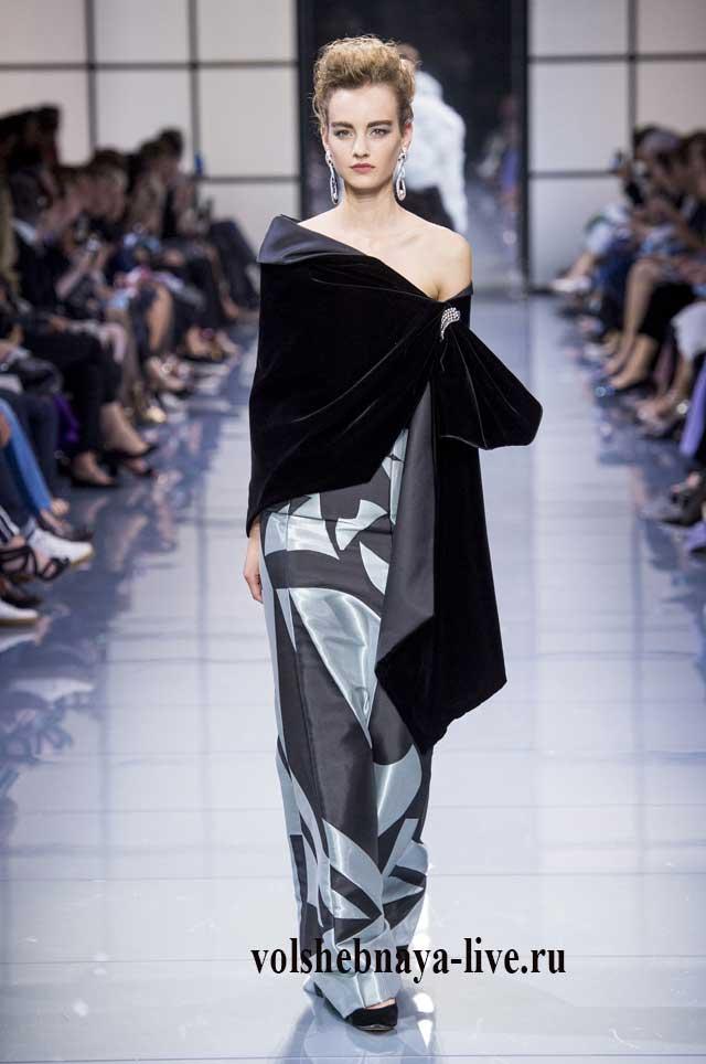 Платье с бархатной накидкой от Армани