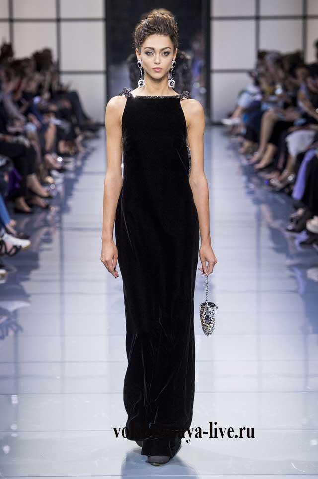 Черное платье Армани из бархата