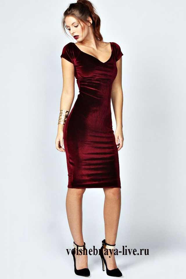 Платье бордо из бархата