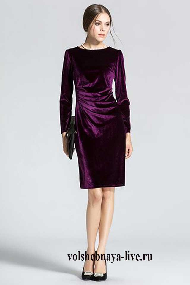 Платье из бархата фиолетового цвета