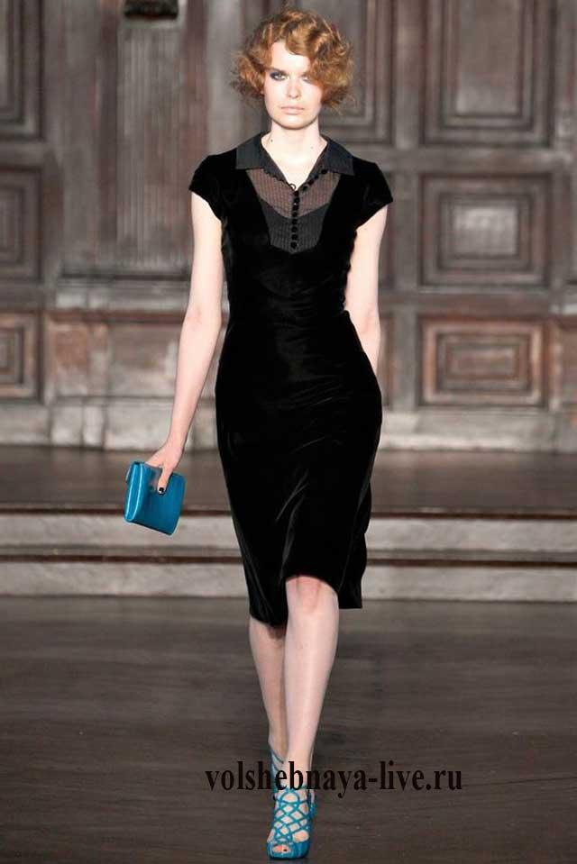 Миди платье из бархата черного цвета