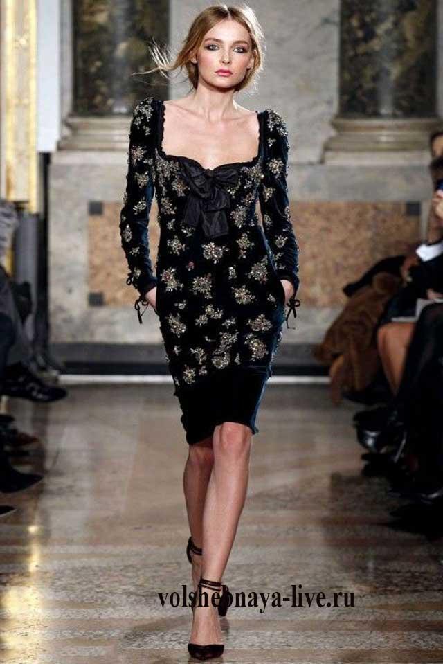 Образ элегантный в платье из бархата
