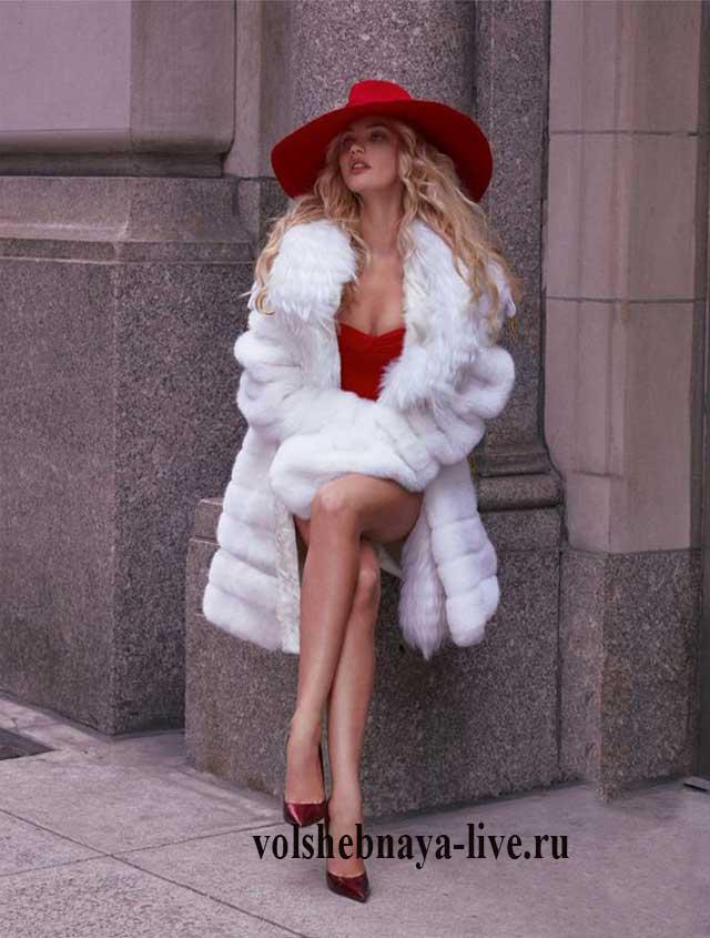 Белая шуба под красное платье