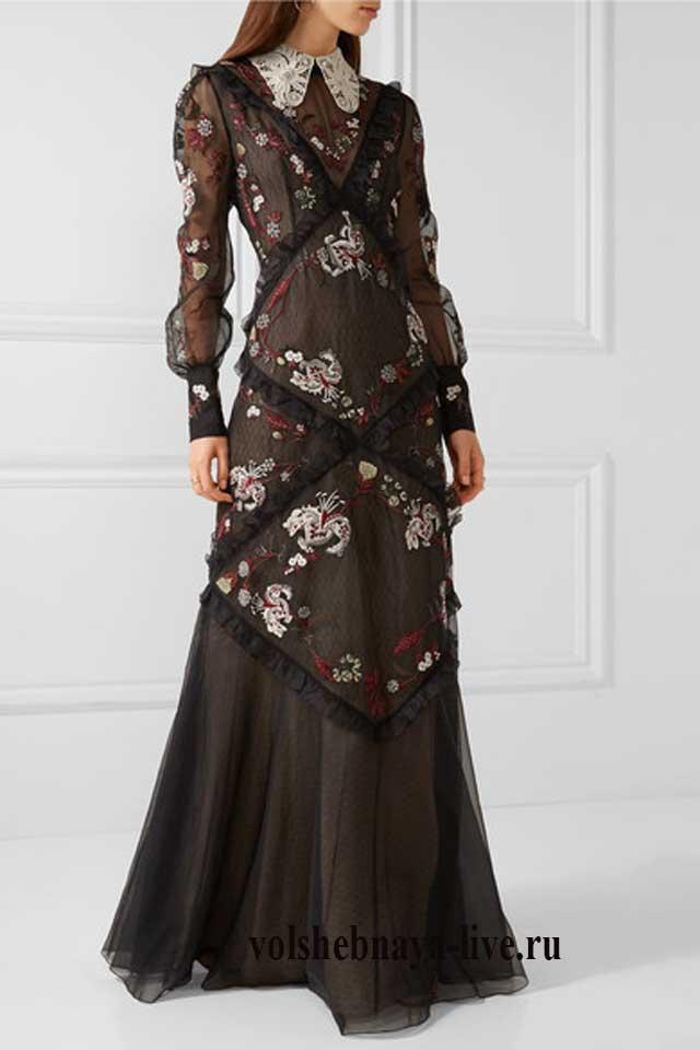 длинное платье маккуин с воротником