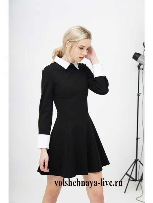 Короткое черное платье с белым воротником с пышной юбкой