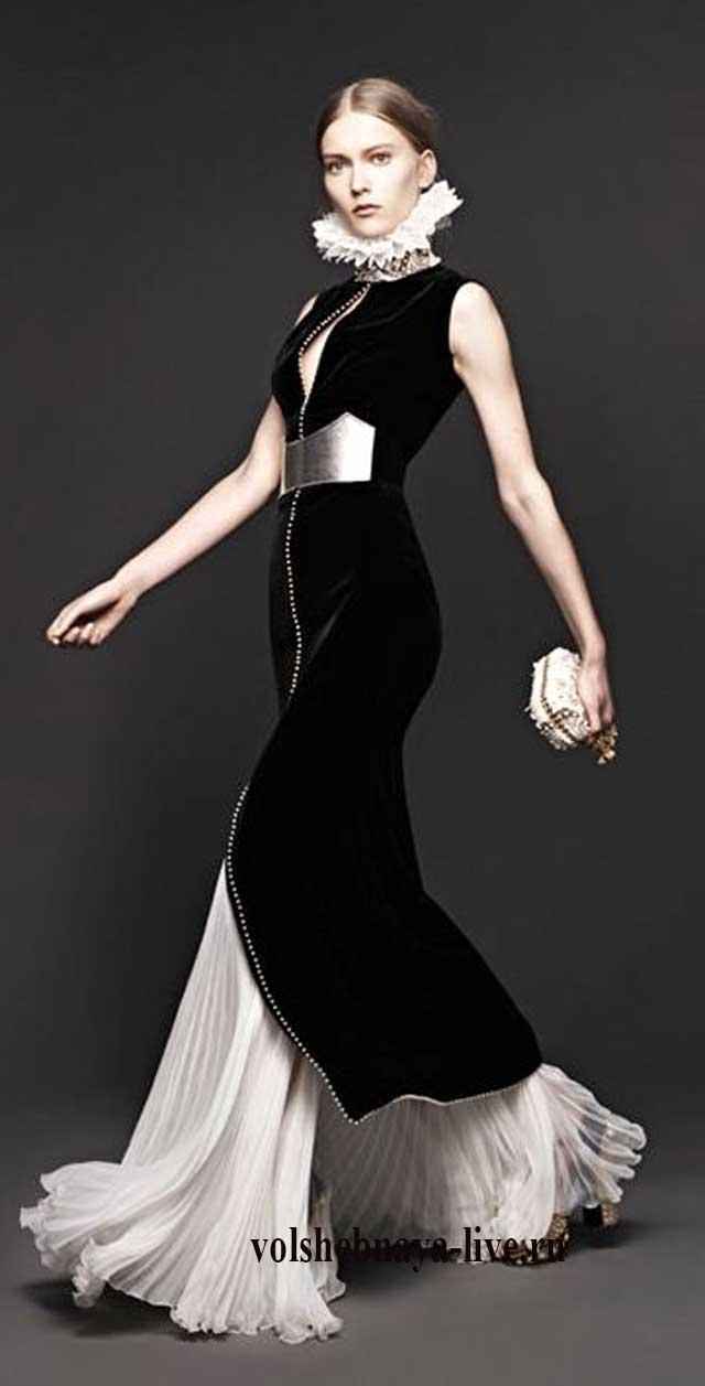 Платье с белым воротником в пол