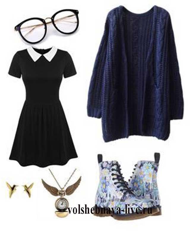 Аутфит с черным платьем с воротничком