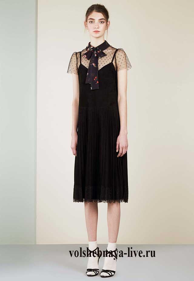 Платье комбинация с воротником