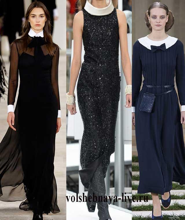 Дизайнерские черные платья своротником