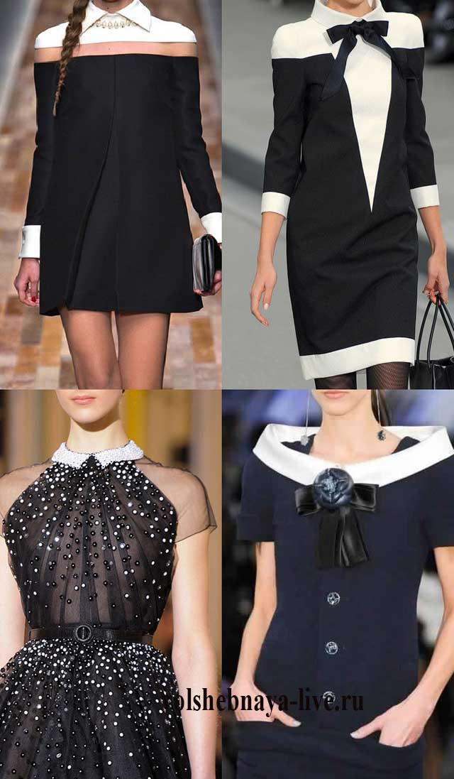 Модели платья с белым воротничком