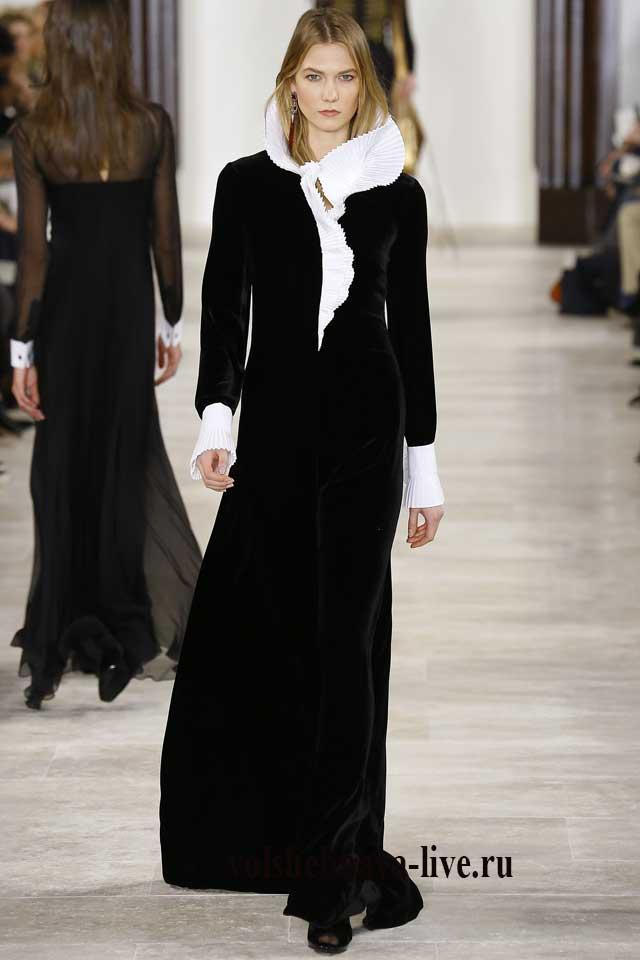 Черное макси платье с воротником из бархата