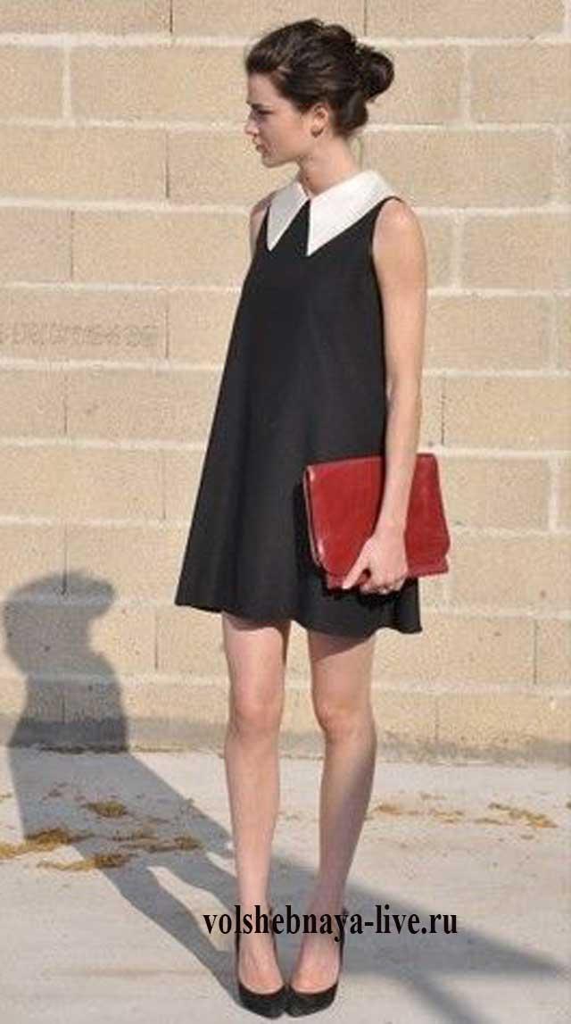 5b29b1d91e0 Черное платье с белым воротником  стильные модели