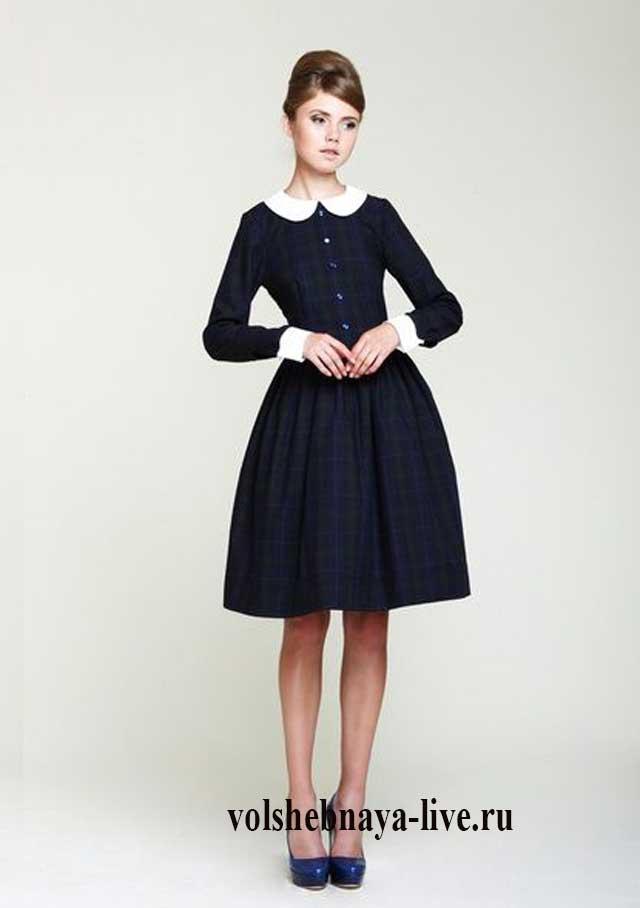Черное платье с пышной юбкой и воротником