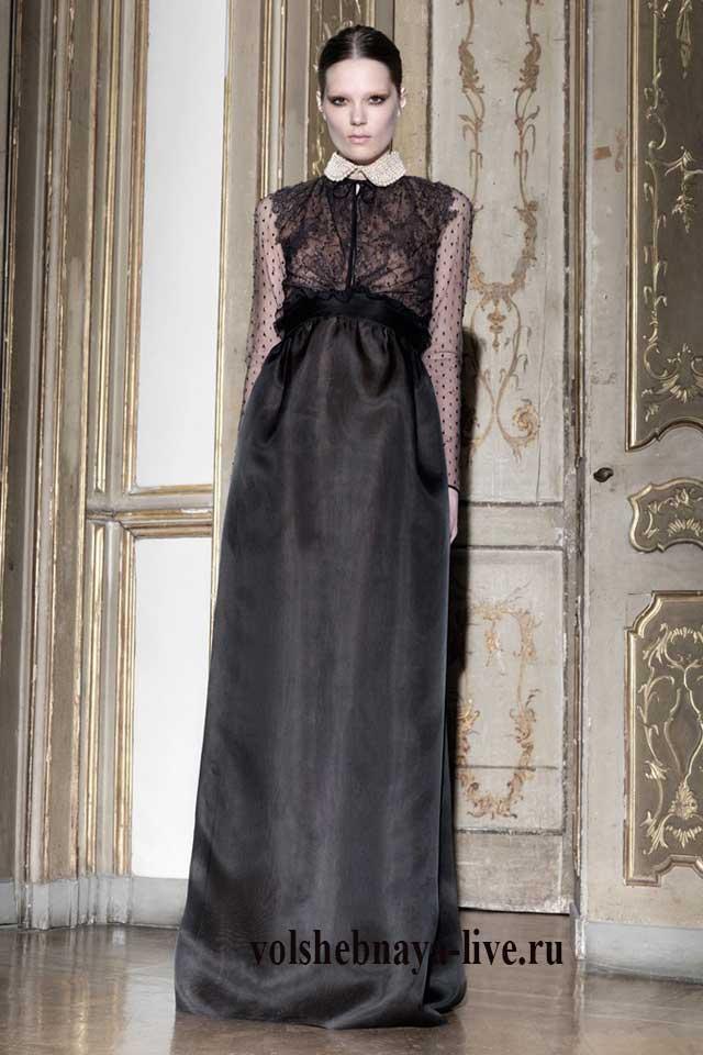 Черное атласное платье в пол с воротничком