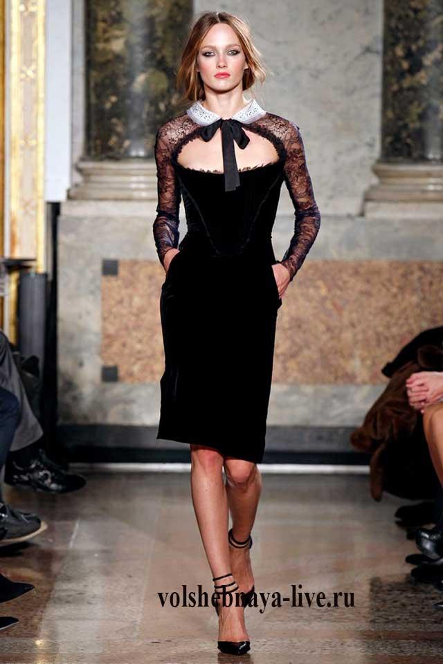 бахатное черное платье с воотником