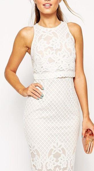 Белая кружевная юбка с кроп топом