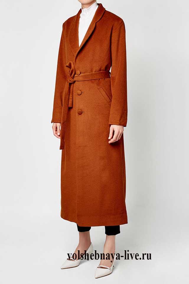 Коричнево охристое прямое пальто
