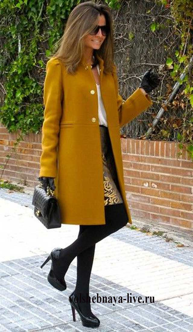 Гламурный образ в горчичном пальто.