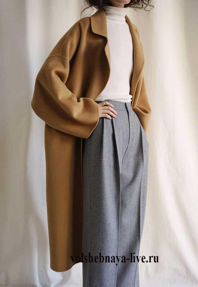 Темное горчичное пальто женское